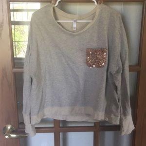 Xhilaration glitter pocket sweat shirt